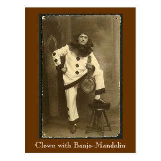 clownwbanjomando、バンジョーマンドリンを持つピエロ ポストカード