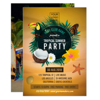 Club/Corporate Tropical Summer add photo and logo カード