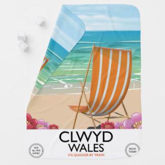 Clwydウェールズの海岸旅行ポスター ベビー ブランケット