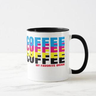 CMYK色の私のお気に入りのな飲み物、タイポグラフィ マグカップ