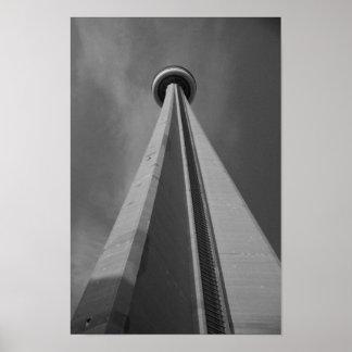 CNタワートロントカナダの黒く及び白い写真 ポスター