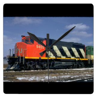 CNモントリオールのlocomotive_Trains スクエア壁時計