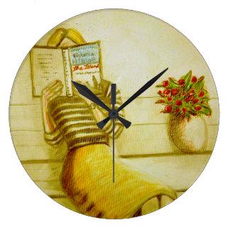 CobaltMoonClockの本みみず、円形の柱時計 ラージ壁時計