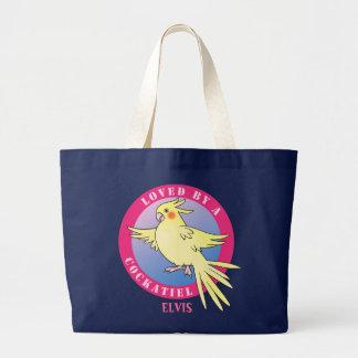 Cockatielの鳥のピンクのバッグによって愛される ラージトートバッグ