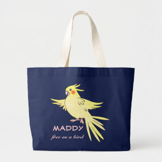 """Cockatielの鳥の""""鳥""""のとして自由バッグ ラージトートバッグ"""