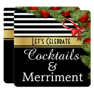 """Cocktails & Merriment"" Holiday Party Invitation カード"