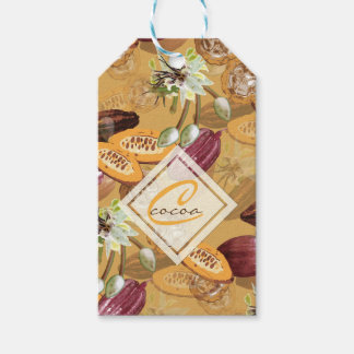 Cocoa Beans, Chocolate Flowers, Nature's Gifts ギフトタグ
