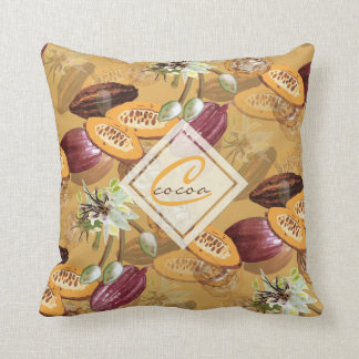 Cocoa Beans, Chocolate Flowers, Nature's Gifts クッション