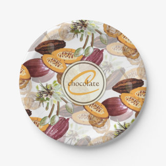 Cocoa Beans, Chocolate Flowers, Nature's Gifts ペーパープレート
