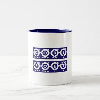 Codepoetの正方形の手紙-青 ツートーンマグカップ
