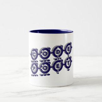 Codepoetは-ブルーグレー3Dをつなぎました ツートーンマグカップ