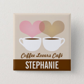 Coffee Café Shop Custom Employee Name Badge 5.1cm 正方形バッジ