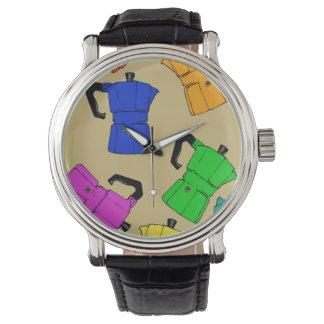 coffeepotのカラフルパターン 腕時計