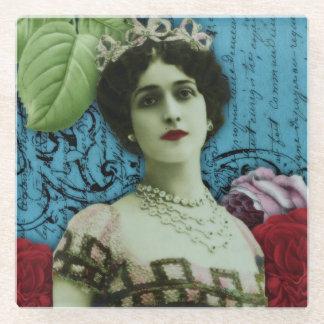 Collage Flowersヴィンテージのフランスのでかわいらしい女性 ガラスコースター