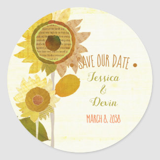 Collage Sunflower Wedding Save the Date ラウンドシール
