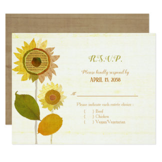 Collage Sunflowers Wedding Entrée Choice RSVP カード