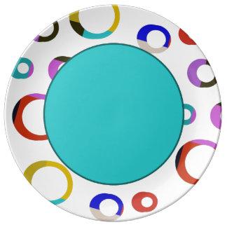 Colorblockのレトロのバスケのプレート-ターコイズ 磁器プレート