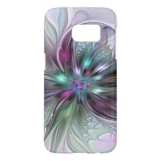 Colorful Fantasy Abstract Modern Fractal Flower Samsung Galaxy S7 ケース