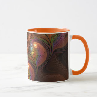 Colorful Fluorescent Abstract Modern Brown Fractal マグカップ
