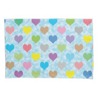 Colorful hearts pattern pillowcase 枕カバー