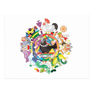 colorful hue circle gradation with black and white ポストカード