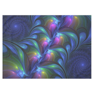Colorful Luminous Abstract Blue Pink Green Fractal テーブルクロス