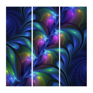 Colorful Luminous Abstract Blue Pink Green Fractal トリプティカ