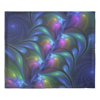 Colorful Luminous Abstract Blue Pink Green Fractal 掛け布団カバー