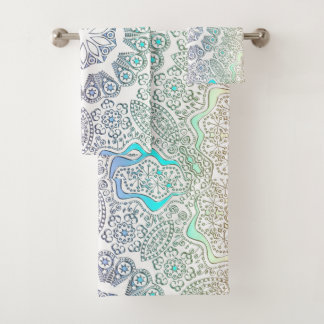 Colorful Mandala on White or Any Color Towel Set バスタオルセット