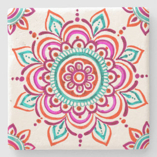 Colorful Mexican floral design coaster ストーンコースター