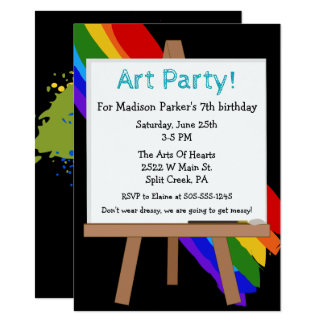 Colorful Painting Party Invitation 11.4 X 15.9 インビテーションカード