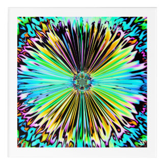 Colorful psychedelic sketch of a flower 2 アクリルウォールアート