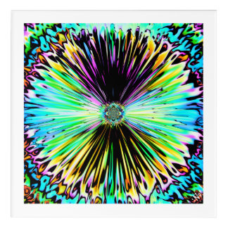 Colorful psychedelic sketch of a flower 3 アクリルウォールアート