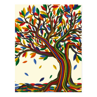 Colorful rainbow tree with bright colors ポストカード