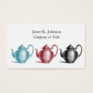Colorful Retro Teapots Custom Personal or Company 名刺