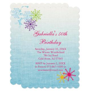 Colorful Snowflake  Birthday Invitation カード