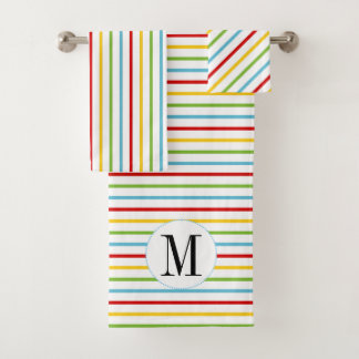 Colorful stripes and monogram bathroom towel set バスタオルセット