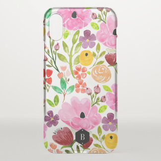 Colorful Watercolor Floral Print Personalized iPhone X ケース