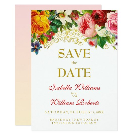 Colorful Watercolor Flowers Wedding Save the Date カード