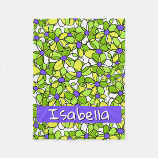 Colorful Whimsical Personalized Floral Pattern フリースブランケット