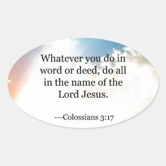 Colossianの3:17、キリスト教の聖書の聖なる書物、経典 楕円形シール