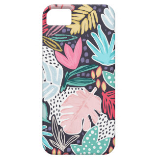 Colourful Tropical Collage Navy Pattern Phonecase iPhone SE/5/5s ケース