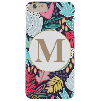Colourful Tropical Collage Pattern & Monogram Barely There iPhone 6 Plus ケース