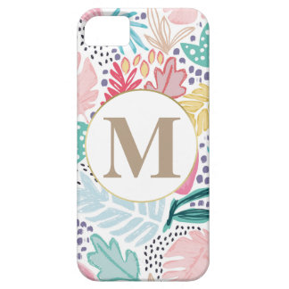 Colourful Tropical Collage Pattern & Monogram iPhone SE/5/5s ケース