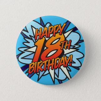 Comic Book HAPPY 18TH BIRTHDAY blue 5.7cm 丸型バッジ