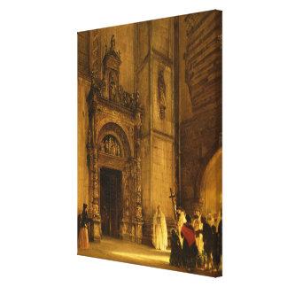 Comoのカテドラル1850年の側面の入口 キャンバスプリント