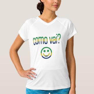 Como Vaiか。 ブラジルの旗色 Tシャツ