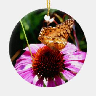 Coneflowerの魔法の蝶 セラミックオーナメント