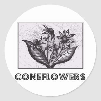Coneflowers 丸形シールステッカー