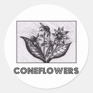 Coneflowers 丸形シール・ステッカー